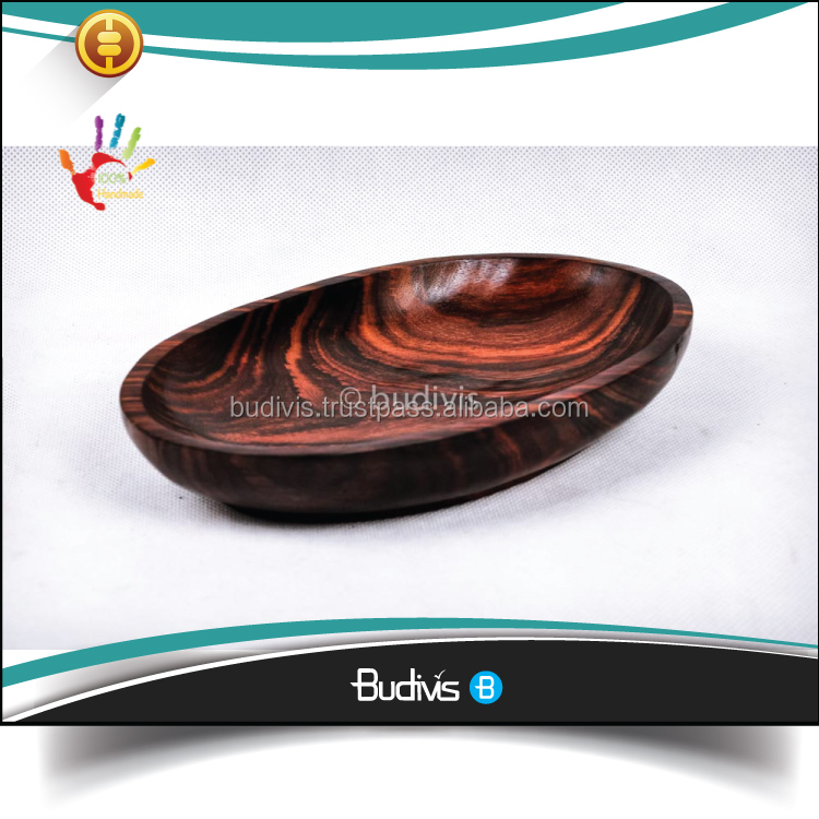 Wooden Oval Bowl Custom Food Serving Tray, Low MOQ Handmade