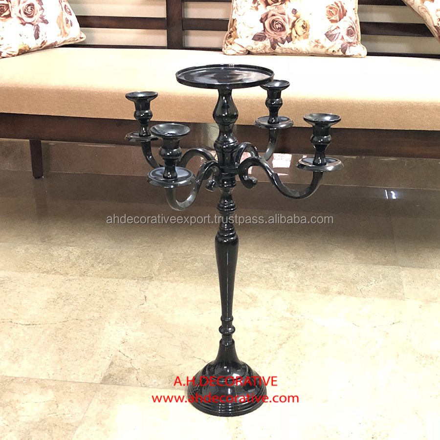 Gold Candelabra 4 Arms With Flower Plate