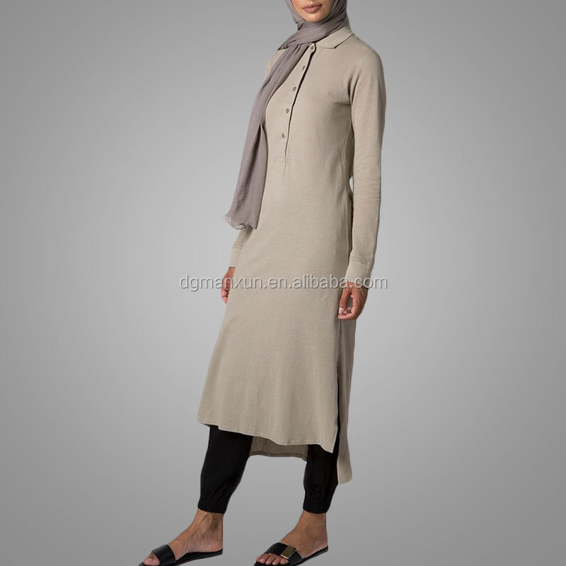 fashion women ladies polo khaki midi muslim dress