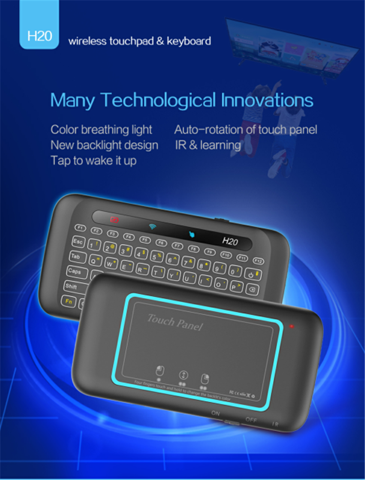 keyboard Air mouse Multi-fingers touch air mouse H20 white back-lit keyboard with Colorful breathing light universal remote