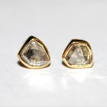 14k Solid Gold Natural Diamond Polki Earrings- Polki Earrings