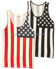 Men's American Flag Stringer Bodybuilding USA US Muscle Workout Gym Tank Top