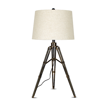 Modern indoor decorative fabric shade metal tripod table lamp