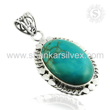 Awesome arizona turquoise pendant silver jewelry 925 sterling silver gemstone jewellery exporters india