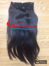 Factory price!! Human Brazilian unprocessed hair clip in remy silky hair extension