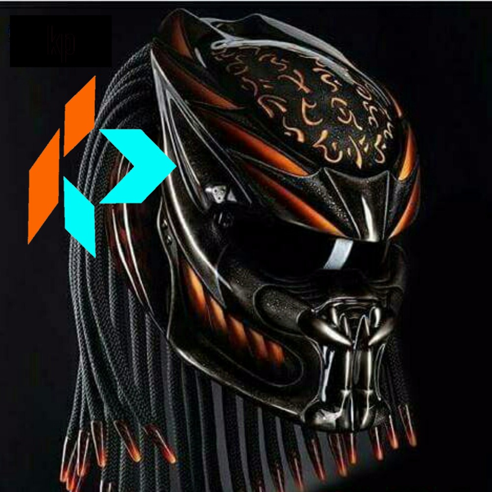 Handmade Monster Predator Helmet Metallic Black Orange MY-50035