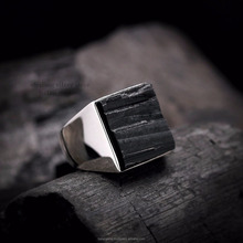 Cheap Price Natural Black Tourmaline Square Gemstone 925 Sterling Silver Handmade Engagement Rings Bg972