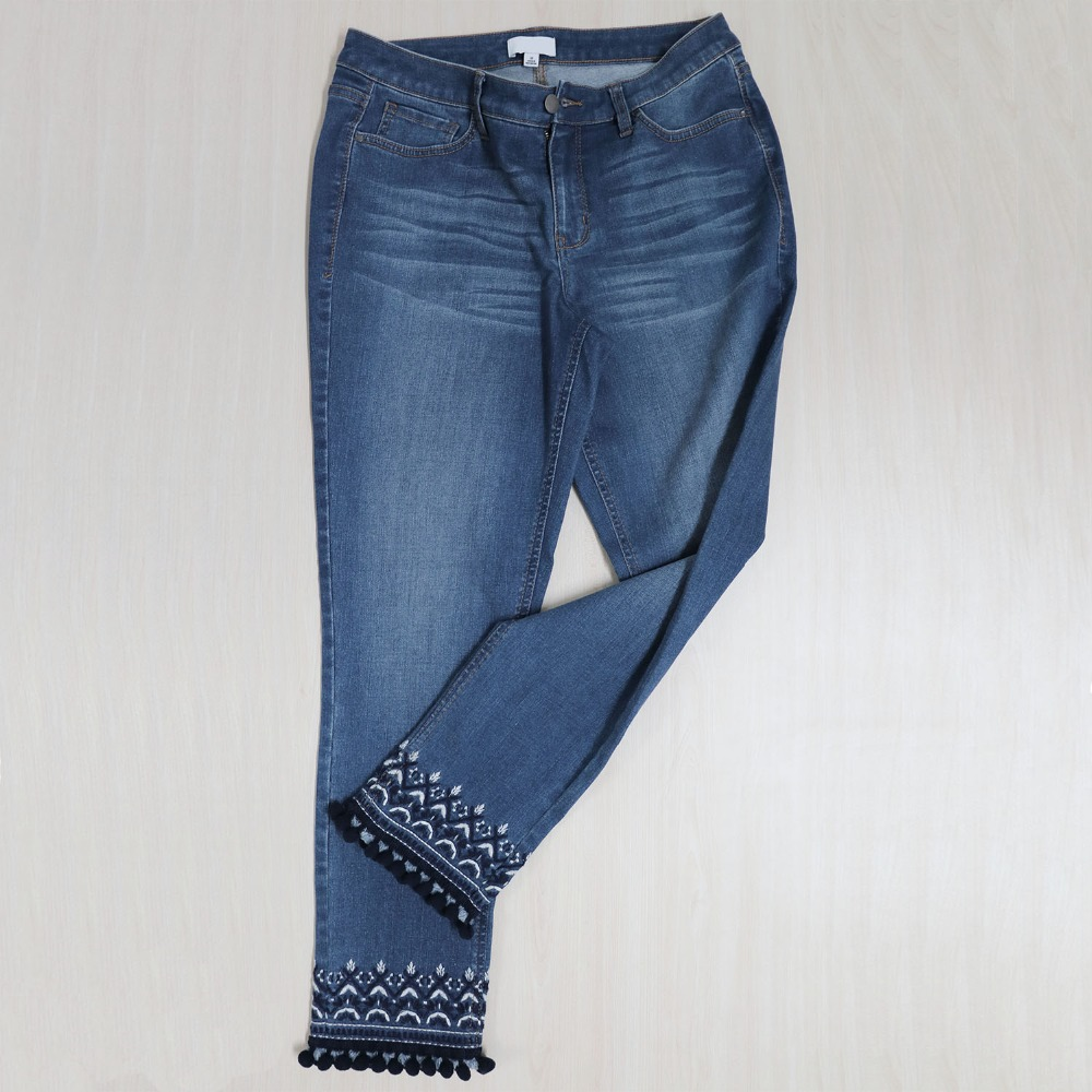 New Style Women Jeans with Embroidered Ethnic Details