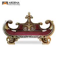 Heavy Carved Boat Shaped Living Room Sofa Gold Leaves Finishing - Indonesian furniture
