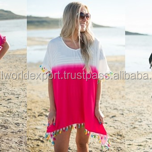 2017 wholesale Sexy and cool Pink summer wear pom pom lace Blouse cover-up for women wear