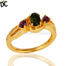 Multi Gemstone Engagement Ring Jewelry Manufacturer of Gold Plated Silver Rings Supplier