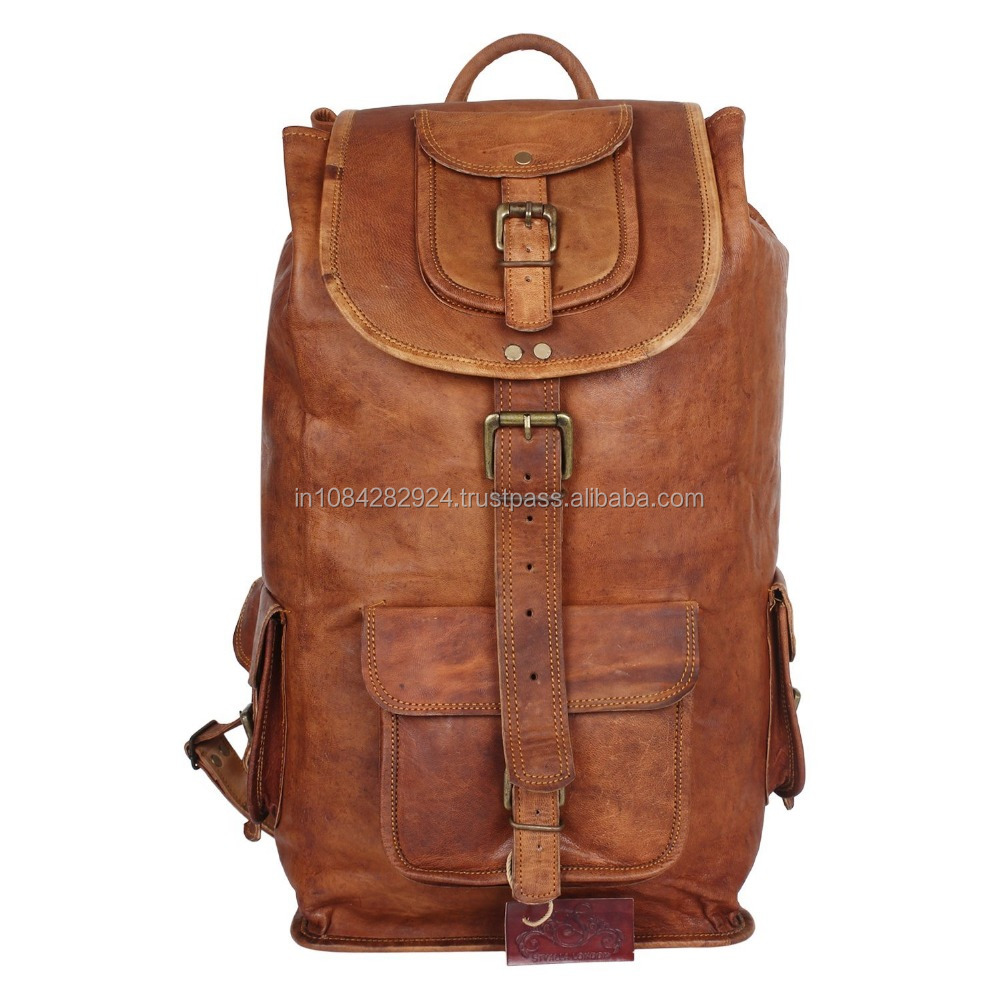 Real Genuine Leather Backpack Fashion Shoolbag Camping Bag Shoulder Bag Leather Rucksack