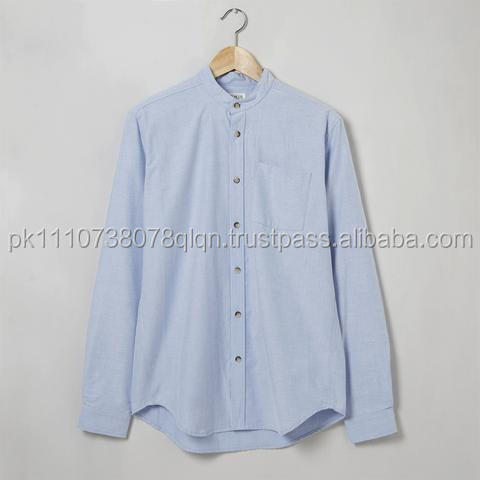 Classic solid 100% organic cotton mens casual dress shirt wholesale