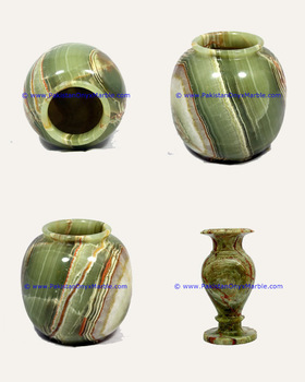 Dark Green Onyx Vases from Pakistan
