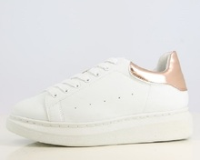 Platform sneakers - for women girls ladies - in black & white + rose gold - lace-up trainers for rainy fall winter