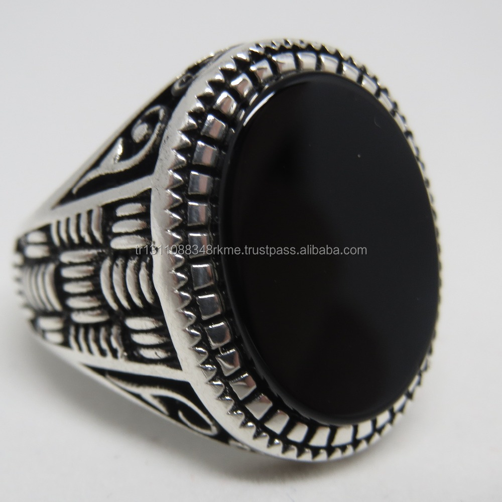 925 Sterling Silver Turkish Handmade Jewelry Onyx Ring For Men WholeSale