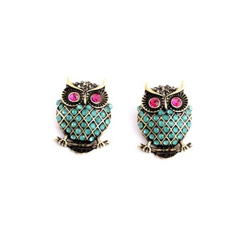 AP38060 Fashion jewelry wholesale luxury elegant crystal owl stud earrings