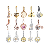 Wholesale 925 Sterling Silver Pendant Charms, European gold pendant Bee Charm Shoes Beads For Jewelry Making