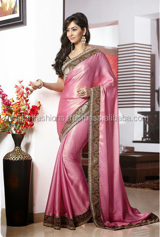 Elegant Plain Pink Color Saree With nice Bordered Blooming Bliss Designer Sarees Collections