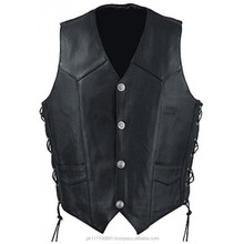 Leather chopper biker vest