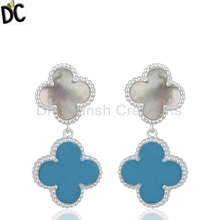 925 Sterling Silver Earring Manufacturer of Turquoise And mother of Pearl Gemstone Clover Design Earring Jewelry Supplier
