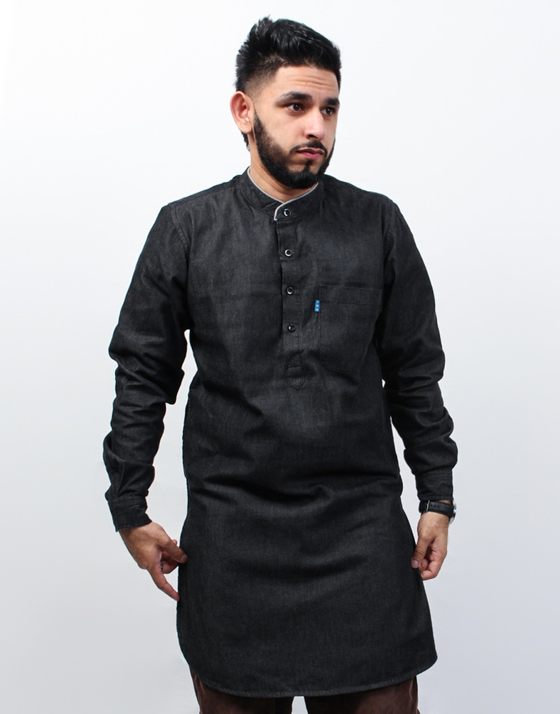 Denim Kurta Casual Kameez For Men Traditional Muslim Clothing Wholesale Supply