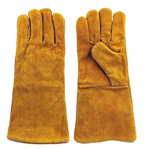 """High quality cowhide split leather welding gloves 16"""" fingers protection working gloves"""