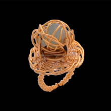 Ultimate Prehnite Rough Gemstone Gold Plated Wire Warped Brass Ring