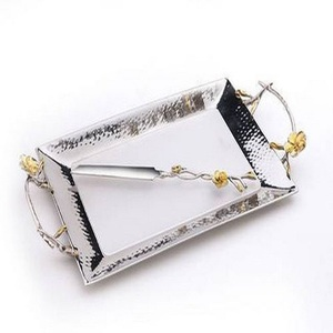 silver plated metal serving tray