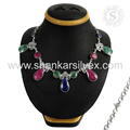 Glamorous fashion design multi gemstone necklace handmade india 925 sterling silver jewelry necklaces wholesale