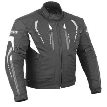 Black cordura motorcycle jacket with protections