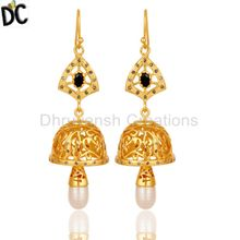 Handmade 925 Silver Gold Plated Jhumka Earrings Pave Diamond Earring Jewelry Manufacturer