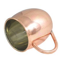 100% COPPER HANDLE+NICKEL POLISHED PLAIN COPPER CUP