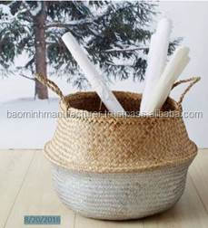Wholesale Silver dipped belly seagrass basket
