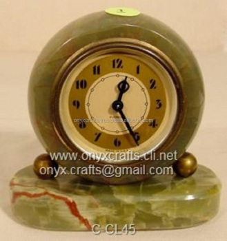 Round Shape Onyx Desk Clock