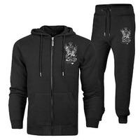 Fleece Tracksuit Suppliers/black zipper fleece tracksuit with customize logo