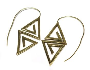 lovely Brass spiral statement tribal hoops original brass earrings