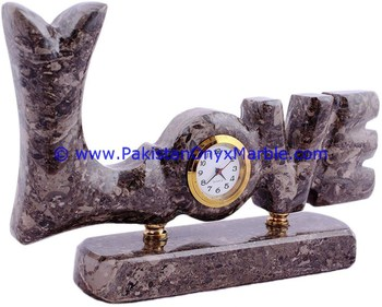 DECORATIVE MARBLE CLOCKS LOVE WORD SHAPE HANDCARVED NATURAL STONE