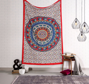 Indian Elephant Mandala Single Tapestry Bohemian Wall Hanging Dorm Decor Tapestries 84X55 Inch