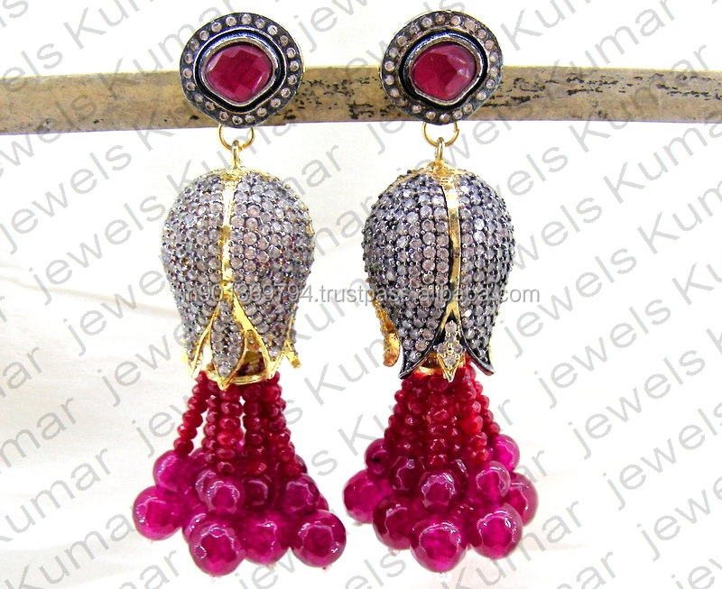 Antique Victorian Look Gold Plated Ruby Stone Oxidized CZ Dangling Tassel Fashion Cocktail Party Wear Earrings