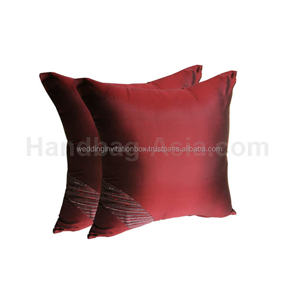 16 * 16 Inches Beautiful Red Thai Silk Pillow Cover