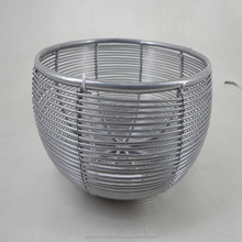 Table Decorative Wire Bowl Round With Silver Powder Coating Finish