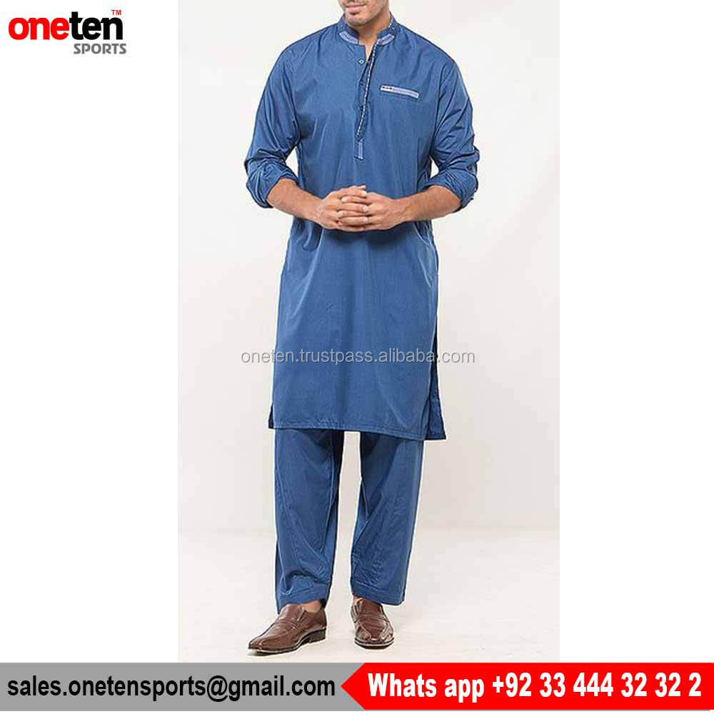 Chase Value Centre Blue Cotton Mens Embroidered Suit