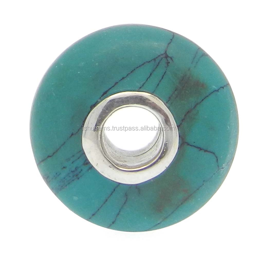Big hole ! silver core roundel smooth beads 14x8x3.5mm green Mexican Turquoise semi precious 10.45 cts gemstone