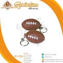 FKC-02 Wholesale Promotional Product Gift Hot Selling P.U Stress Rugby ball key chain
