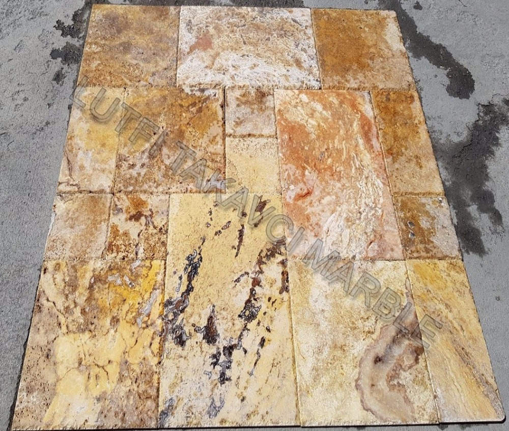 SCABELLA TRAVERTINE FRENCH PATTERN SET 1.2 CM UNFILLED CHISELED BRUSHED