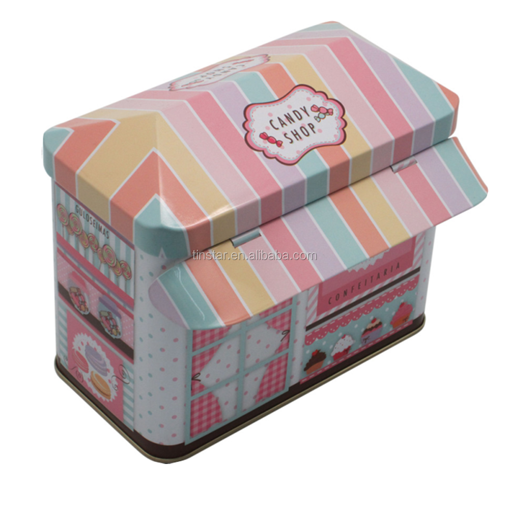 New style house shaped candy gift tin box