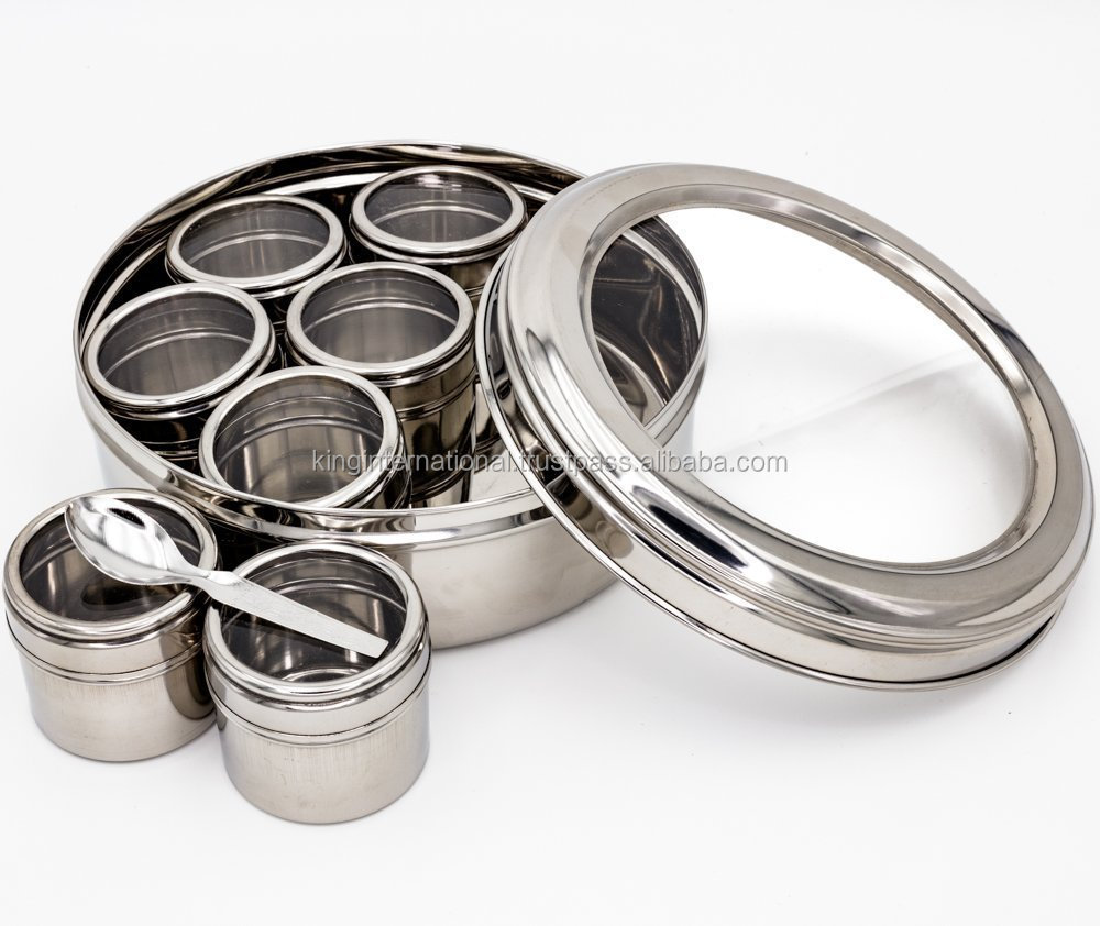 NEW STAINLESS STEEL INDIAN MASALA DABBA (SPICE BOX CONTAINER CANISTERS) PLAIN