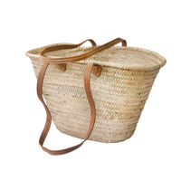 Natural Basket long Flat Leather Handle, French Basket, Moroccan Basket, straw bag, french market basket, Beach Bag, straw bag