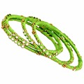 Jaipur Mart Thread Work With Gold Plating Light Green Color Glass Stone Bangle Size: 2.6